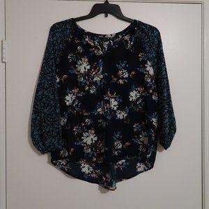Dark Blue Floral Summer blouse Medium